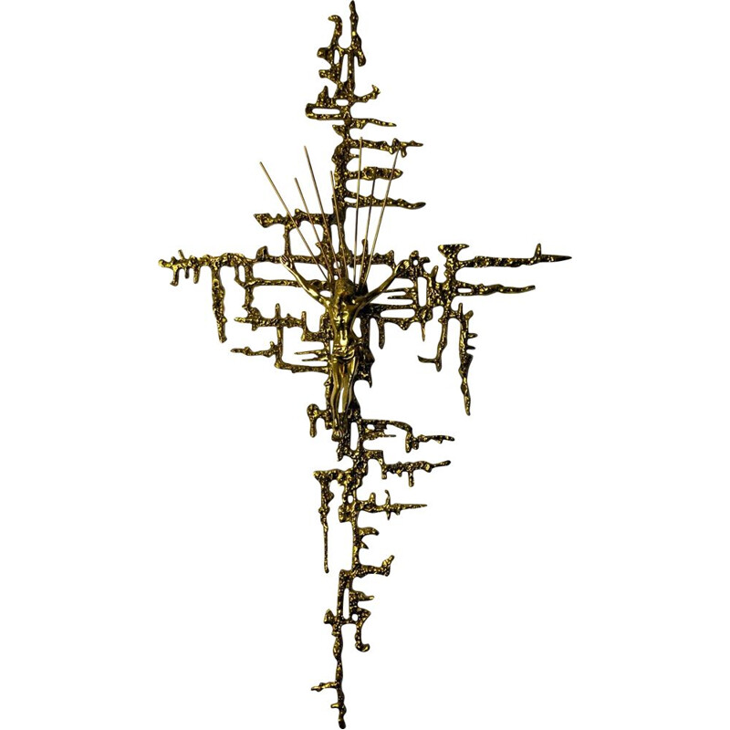 Vintage surrealist Crucifix of Christ in brass by Dalí, Spain 1980