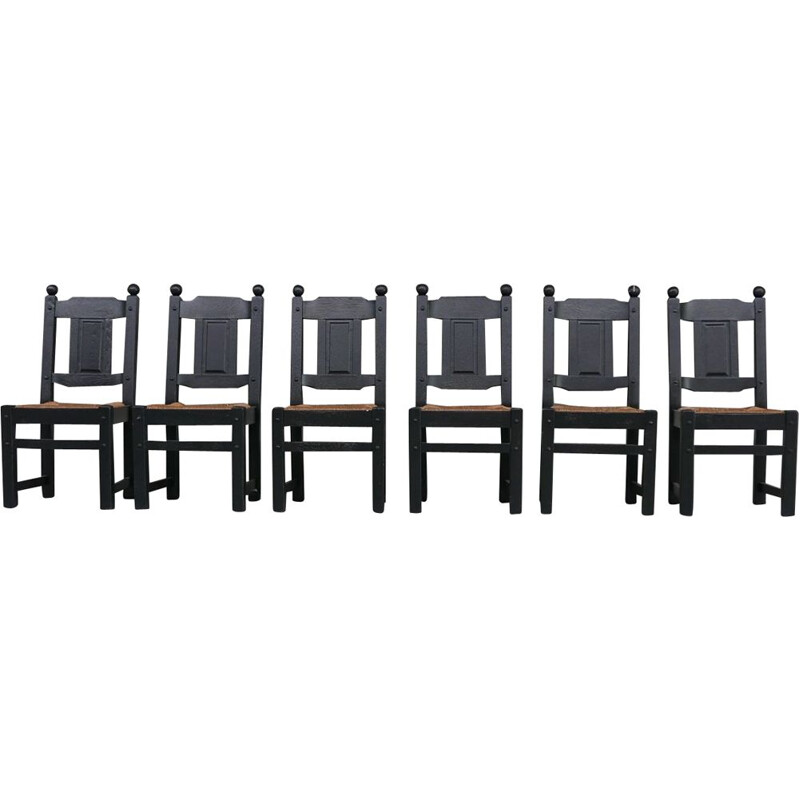 Set of 6 vintage rush black dining chairs, Holland 1970s