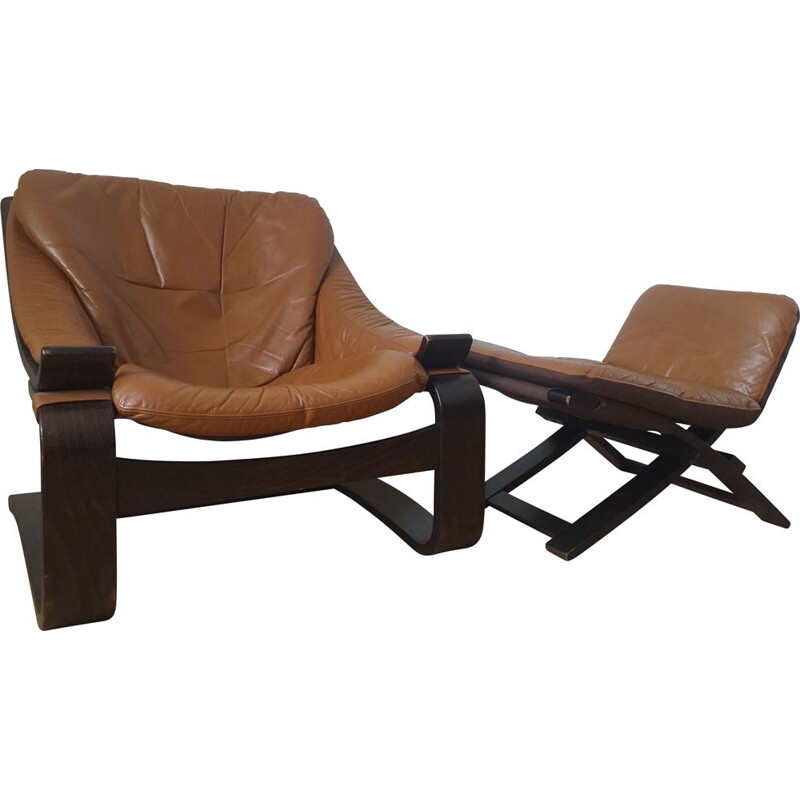 Mid century Kroken armchair with ottoman by Ake Fribytter for Nelo, Sweden 1970s