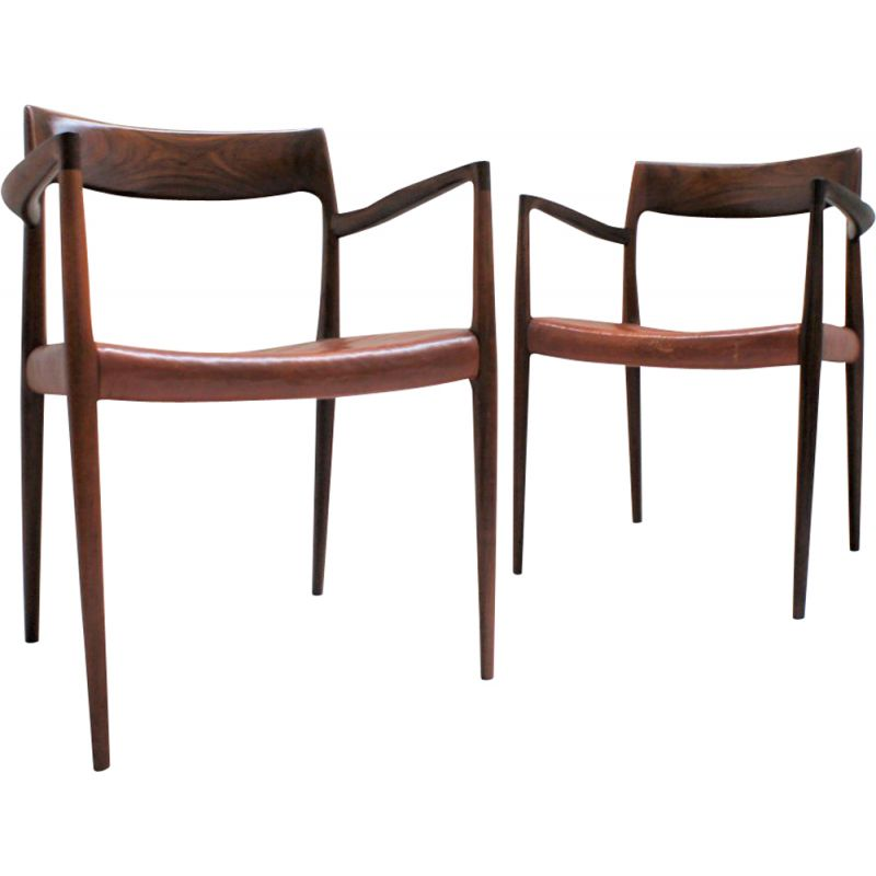 Pair of vintage bridge chairs in rosewood and leather by Niels O' Moller