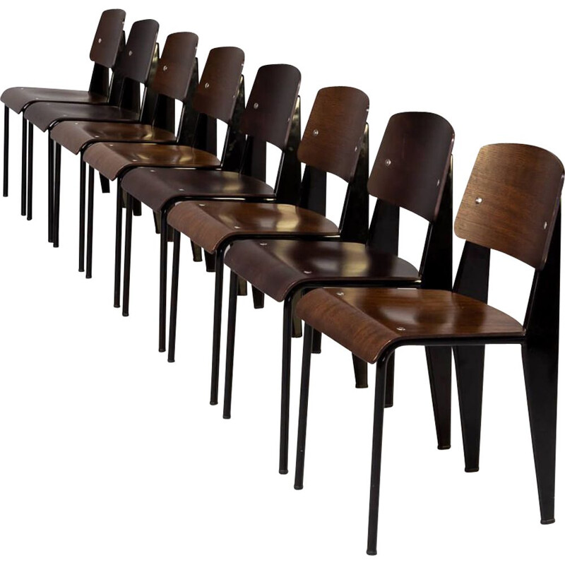 Set of 8 vintage standard SP dining chairs by Jean Prouvé for Vitra