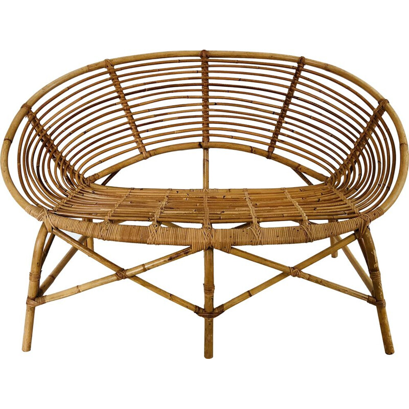Vintage two-seater rattan sofa, France 1960