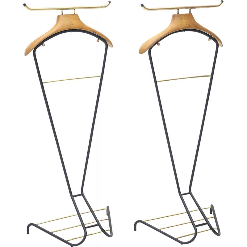 Pair of vintage metal and wood valet stands by Cova Milano, 1950s