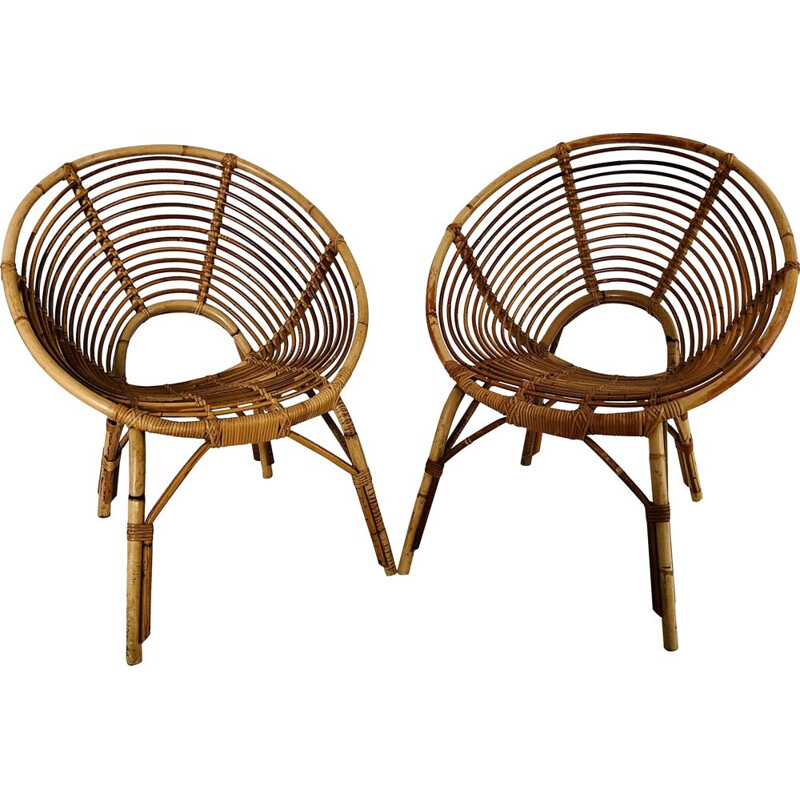 Pair of vintage rattan armchairs, France 1960
