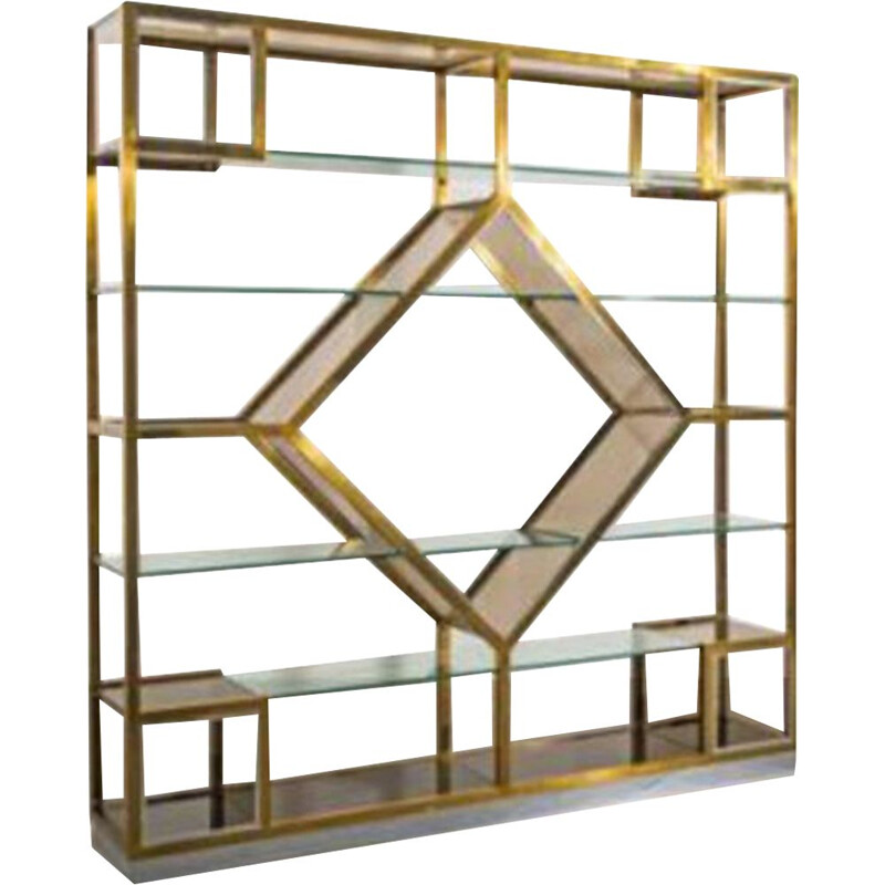 Vintage glass bookcase, Italy 1970s