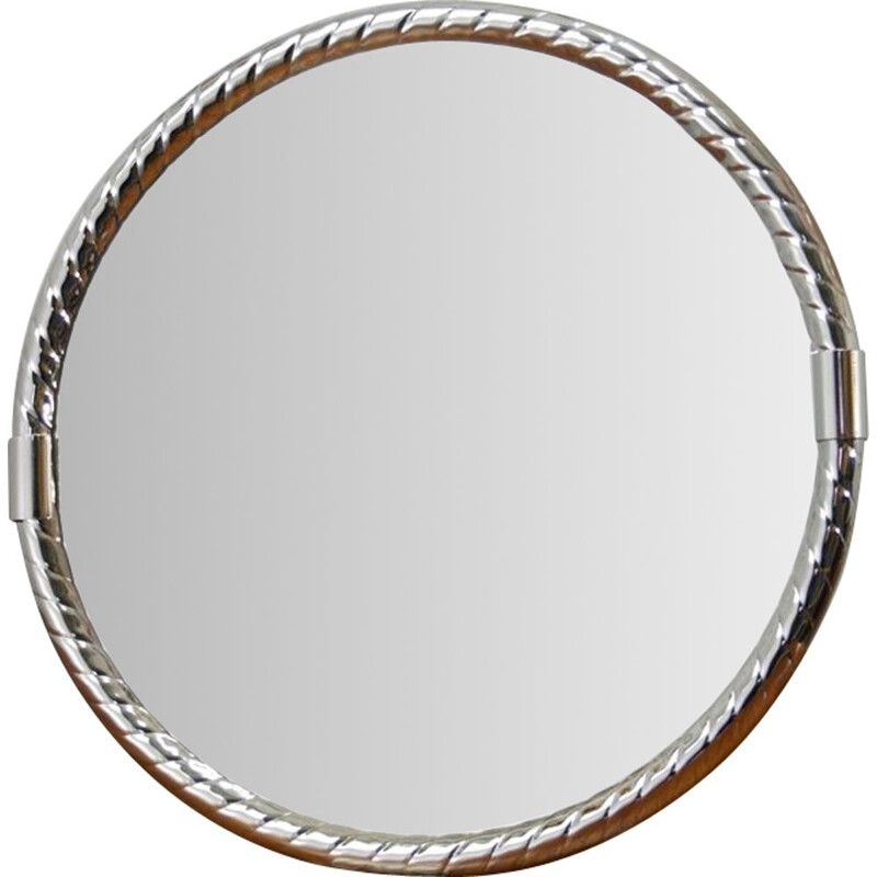 Vintage chrome plated wall mirror, 1970s