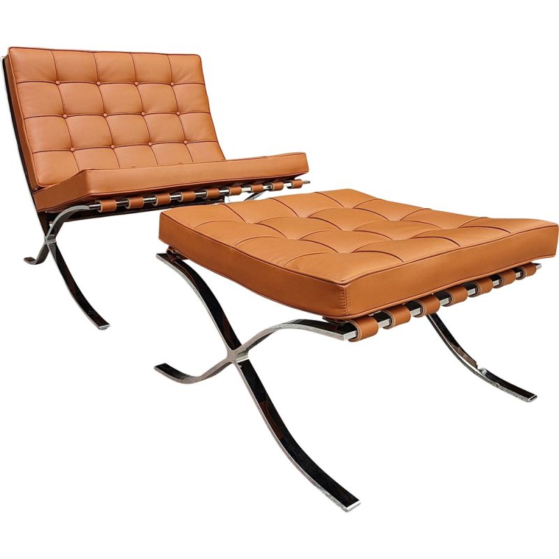 Vintage Barcelona armchair and ottoman in camel leather by Mies van der Rohe for Knoll, 2020