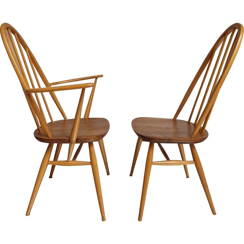 Set of vintage Windsor elmwood and beechwood chair and armchair by Lucian Randolph ERCOLANI, 1960s