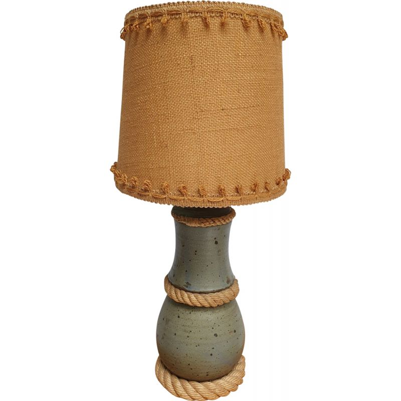 Vintage lamp in wool and stoneware and Jute by Audoux Minet, 1960