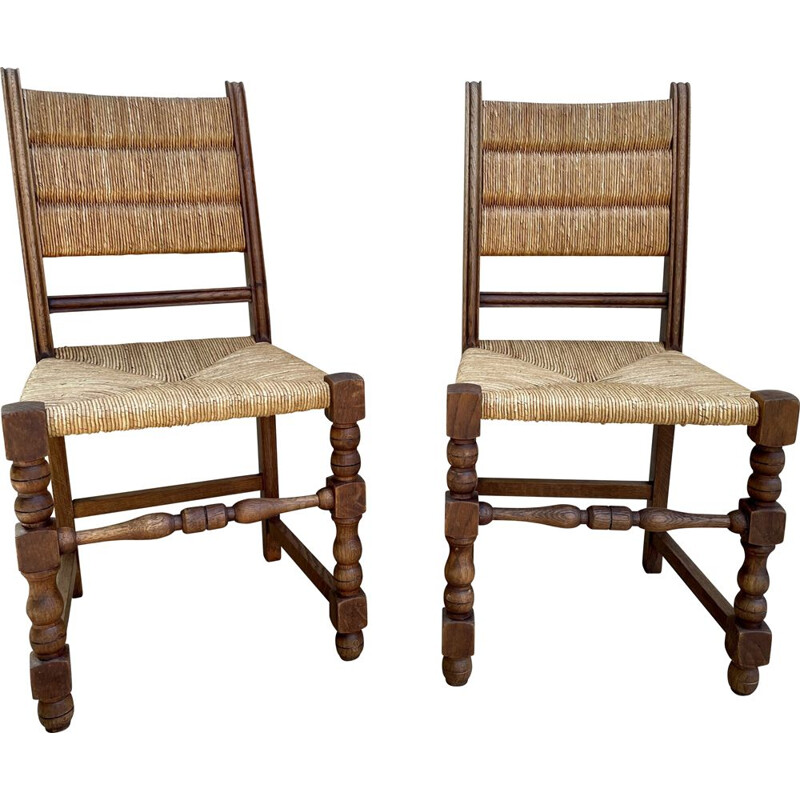 Pair of vintage chairs in solid oakwood and straw