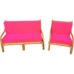 Living room set in rattan and pink fabric - 1970s
