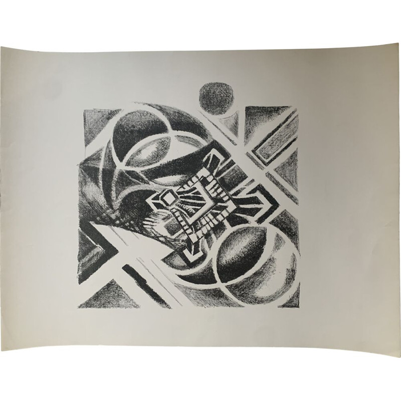 """Vintage lithograph """"Paris, aerial view of the tower"""" by Robert Delaunay, 1926"""