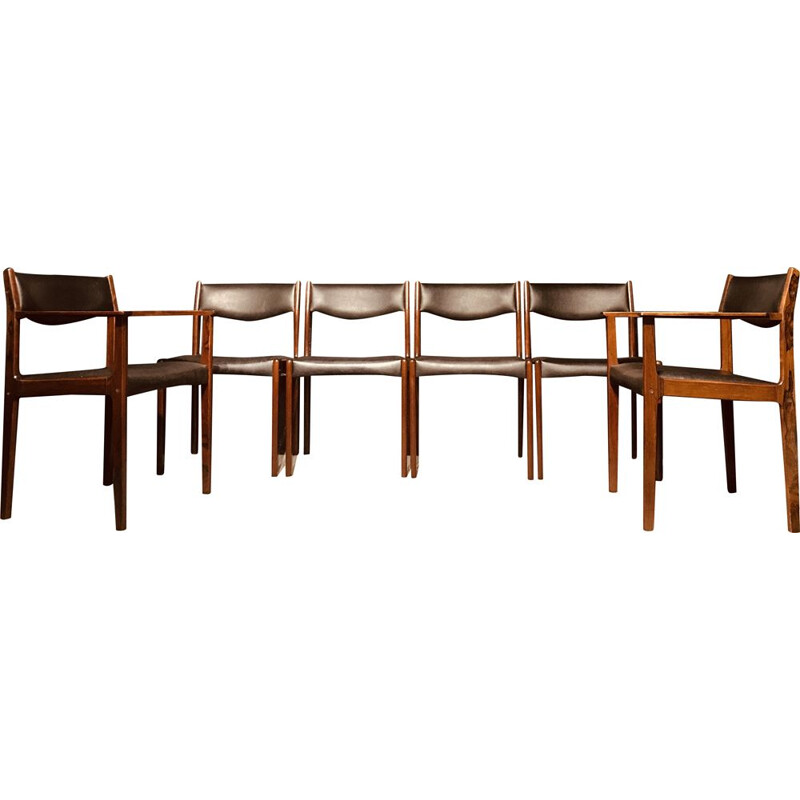 Set of 6 vintage Danish dining chairs in rosewood by SAX, 1960s