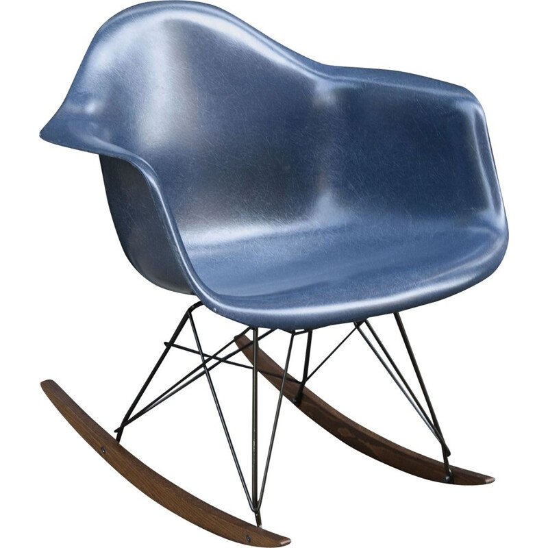 Vintage RAR navy blue rocking chair by Charles & Ray Eames by Herman Miller