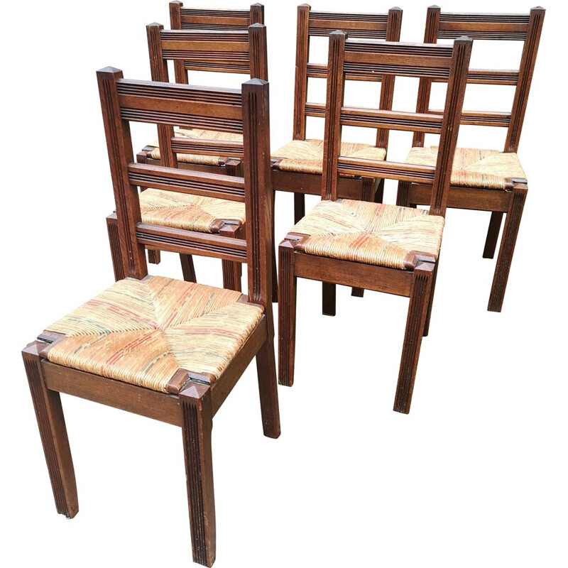 Set of 6 vintage solid oakwood chairs with straw seat