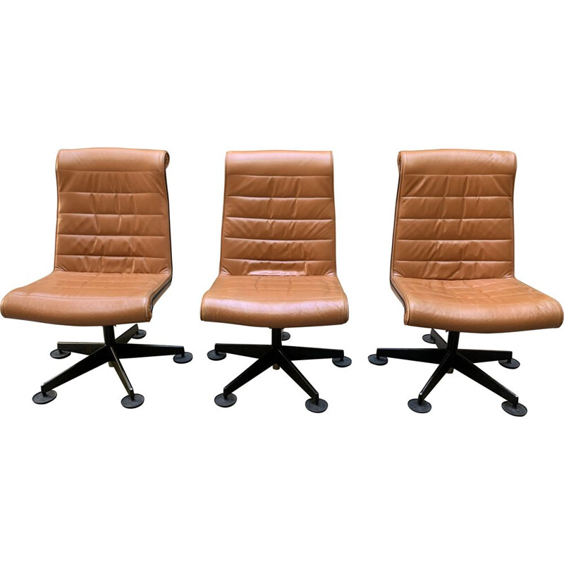 Set of 3 vintage brown conference armchairs, 1980s