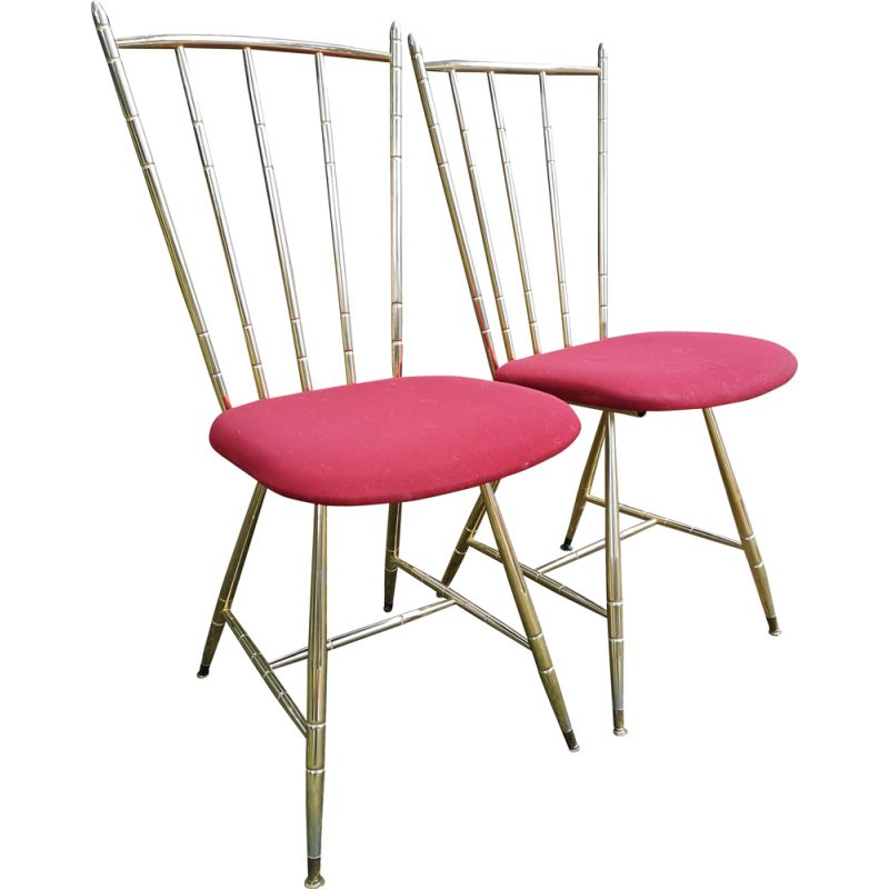 Pair of vintage chairs in gilded metal and red fabric seat