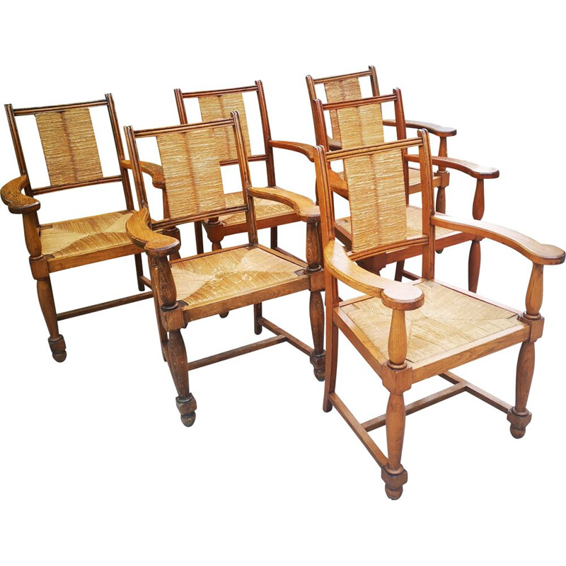 Set of 6 vintage solid oakwood armchairs with straw seat and back, 1940