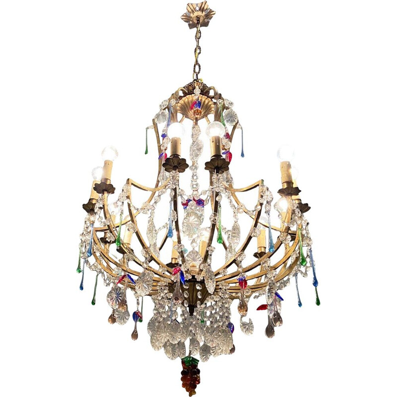 Mid century Murano fruit glass chandelier with 12 lights