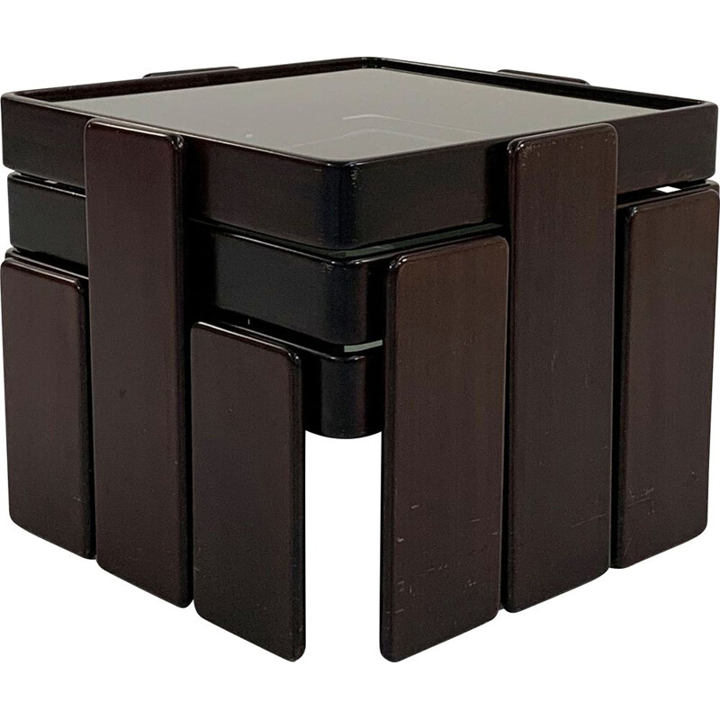 Vintage wood nesting tables by Gianfranco Frattini for Cassina, 1970s