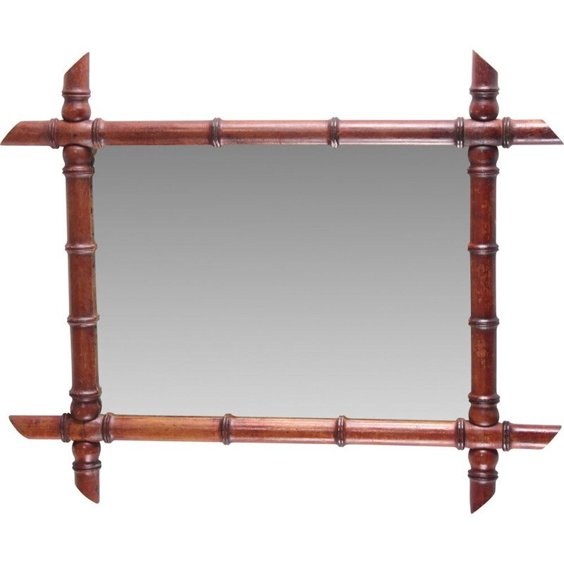 Vintage French bamboo mirror, 1920s