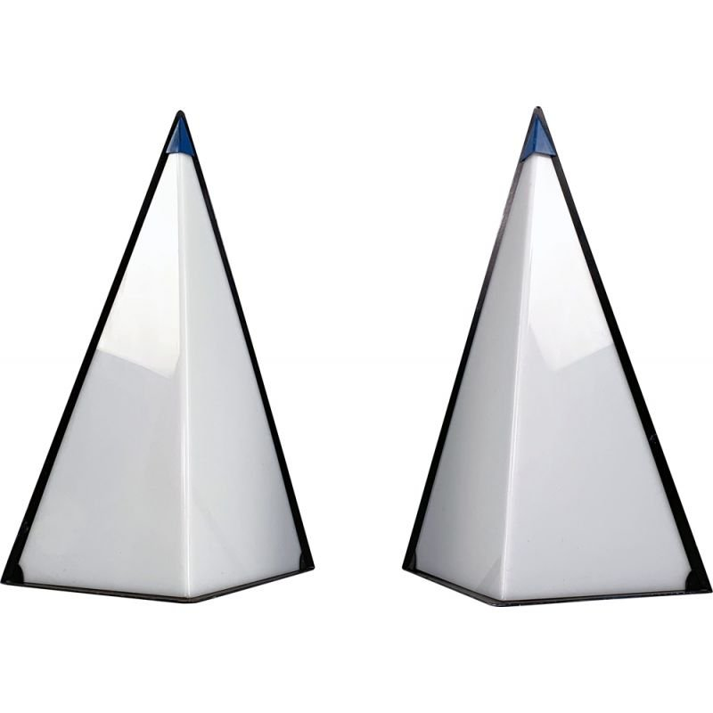 Pair of vintage postmodern pyramid lamps by Zonca Italy, 1980s