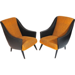Pair of armchairs in faux leather and textil - 1950s