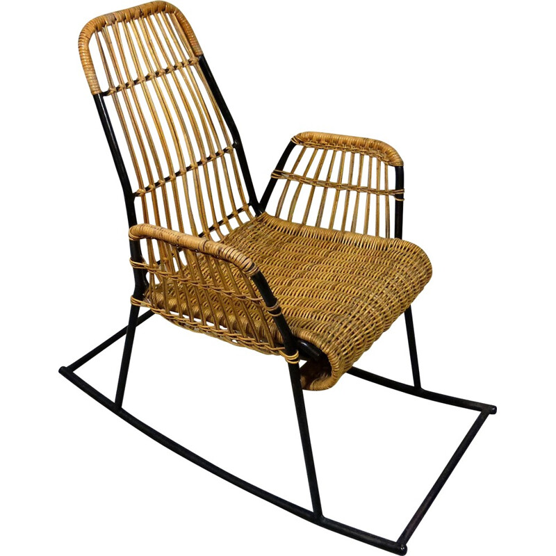 Rocking chair in rattan and black lacquered steel - 1950s