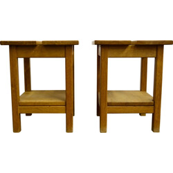 Pair of oak bedside table,  GUILLERME AND CHAMBRON - 1970s