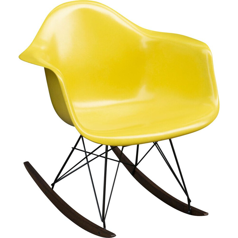 Vintage rocking chair bright yellow de Charles & Ray Eames for Herman Miller