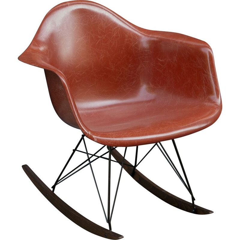 Mid-century rocking chair Terracotta by Charles & Ray Eames for Herman Miller