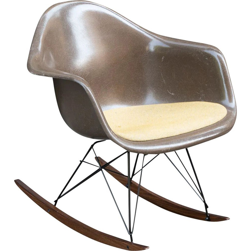 Vintage rocking chair seal brown by Charles & Ray Eames for Herman Miller