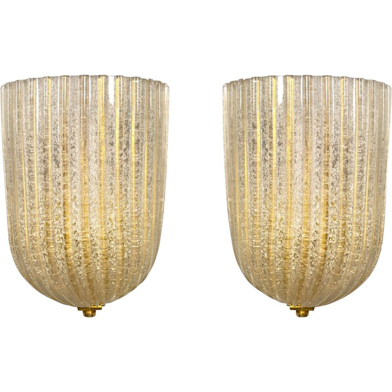 Pair of vintage wall lamp Murano by Barovier & Toso, Italy 1970s