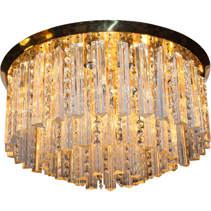 Mid-century ceiling lamp with Murano glass crystals by J.T. Kalmar, Austria 1960