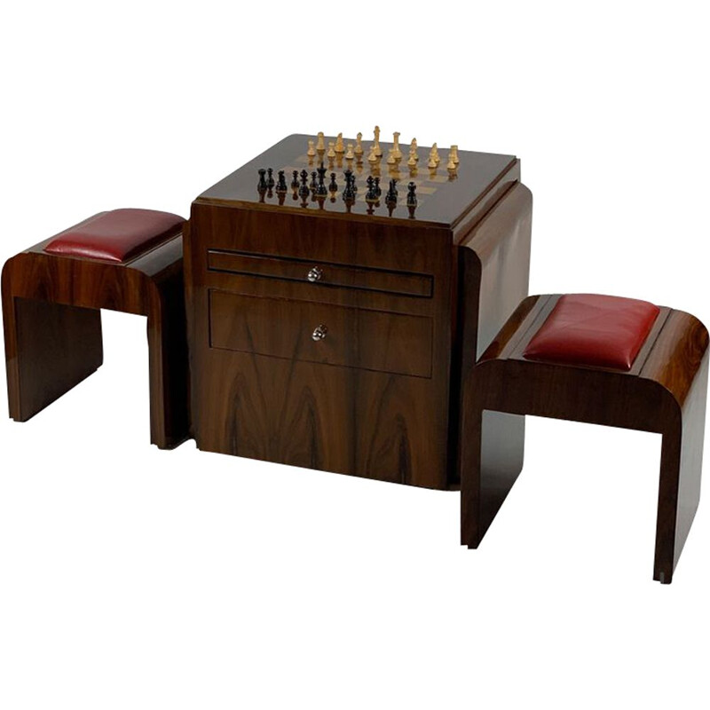 Art Deco vintage chess table with chess figures and two stools, 1930s