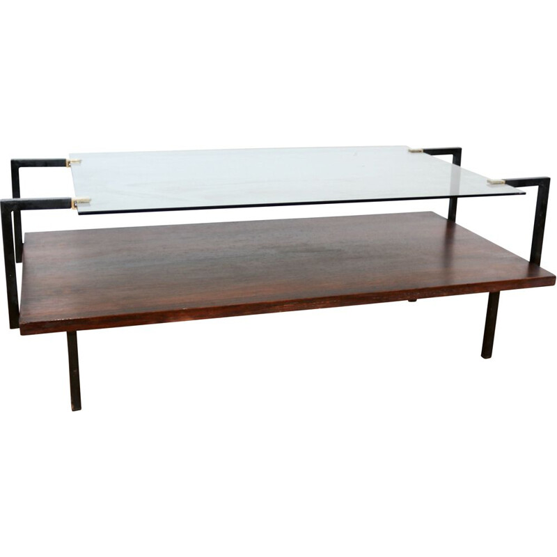 Vintage modernist glass and rosewood coffee table, 1950s