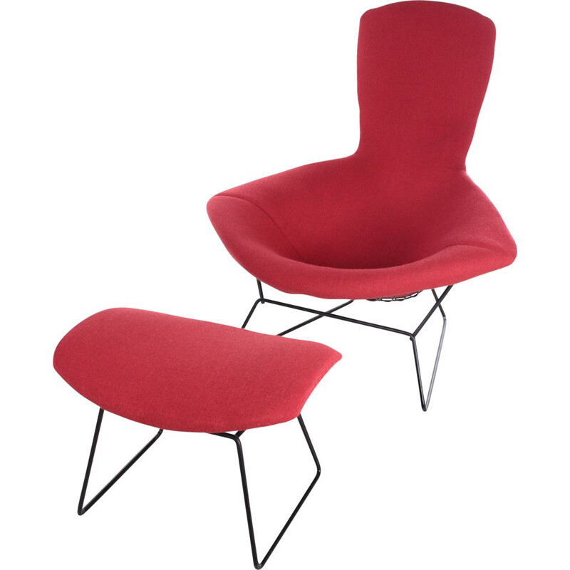 Vintage Model Bird armchair with Ottoman by Harry Bertoia for Knoll, 1970s