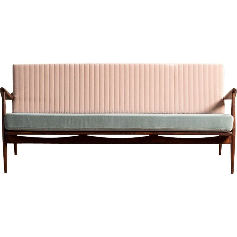 Vintage scandinavian two-tone 3-seater bench with armrests, Denmark 1960