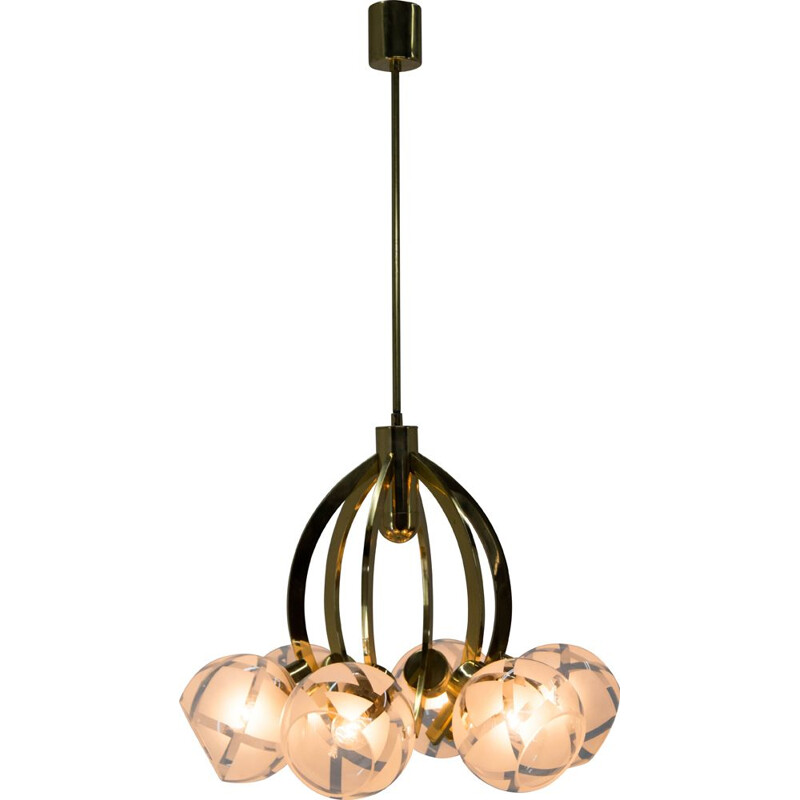 Mid-century brass and glass 6-flamming chandelier, 1980s