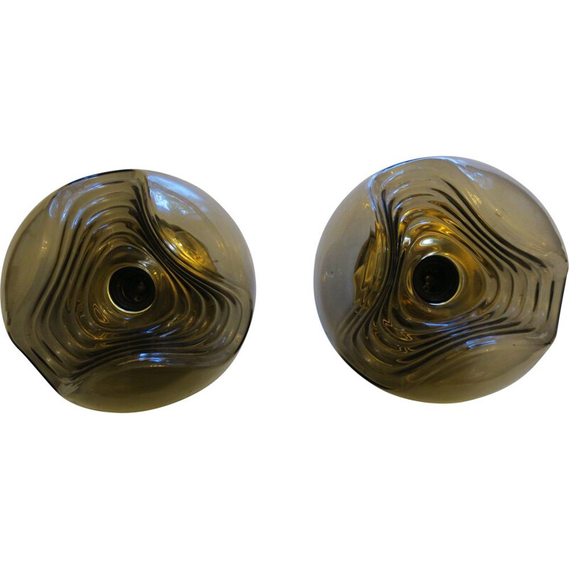 """Pair of vintage Koch & Lowy """"Wave"""" wall lights for Peill & Putzler"""