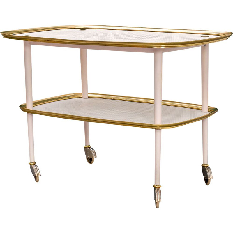 Mid-century brass and perforated metal plates serving trolley, 1950s