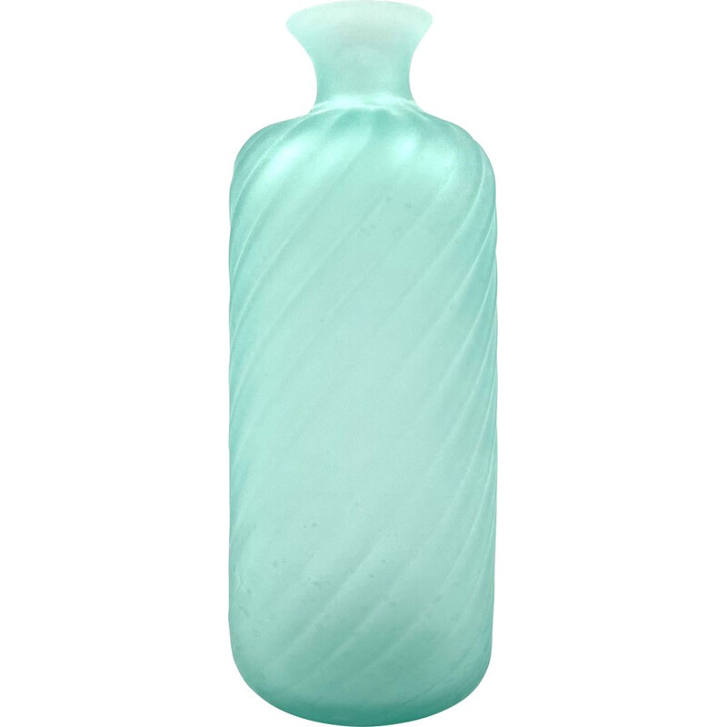 Mid-century Murano frosted glass aqua green vase by Gino Cenedese for Cenedese, Italy 1970s