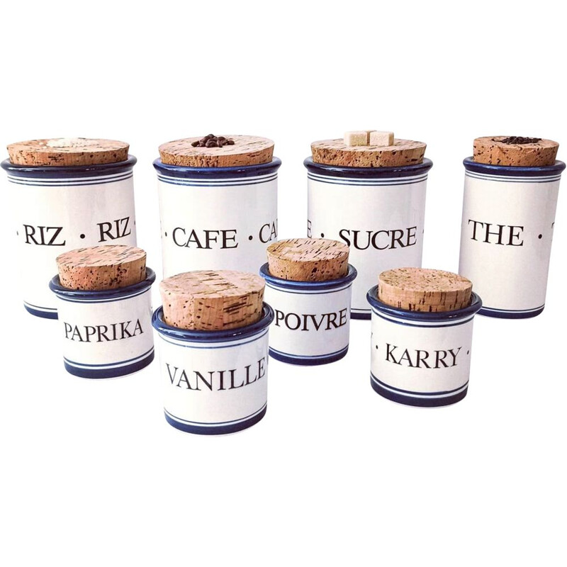 Series of vintage pots in glazed terracotta and cork lids