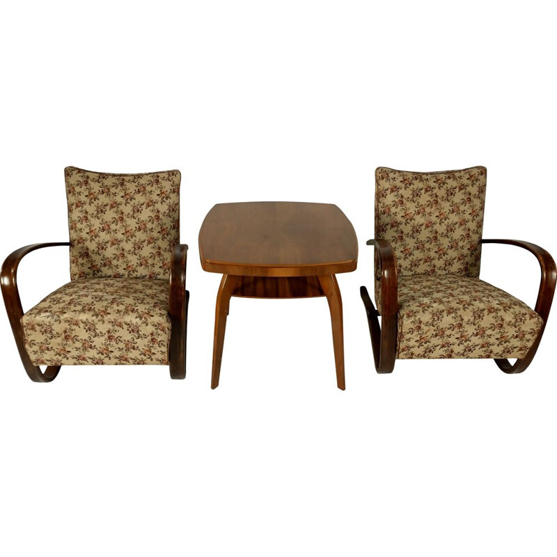 Set of 2 mid-century armchairs and table by Jindřich Halabala, Czech Republic 1930s