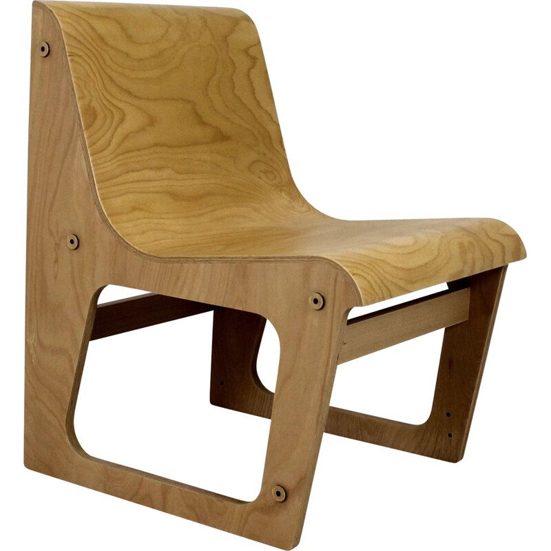 Vintage beech plywood bench Symposio by René Šulc for TON, 2010s