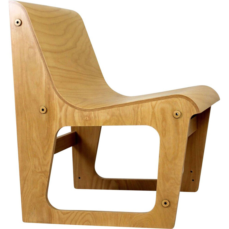 Vintage beech plywood chair Symposio by René Šulc for TON, 2010s