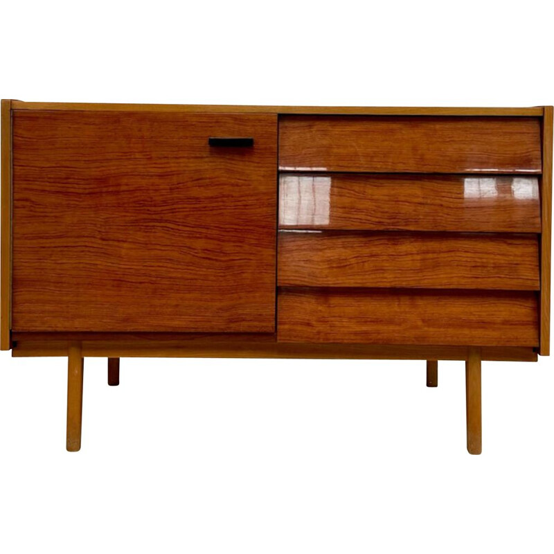 Vintage wood and glass sideboard, 1970s