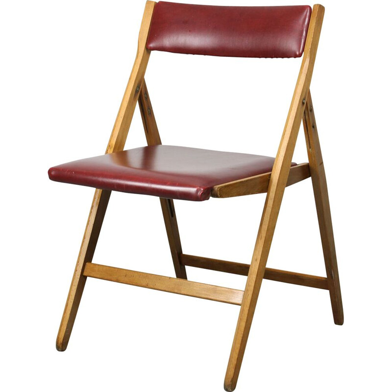 Vintage red Eden folding chair by Gio Ponti