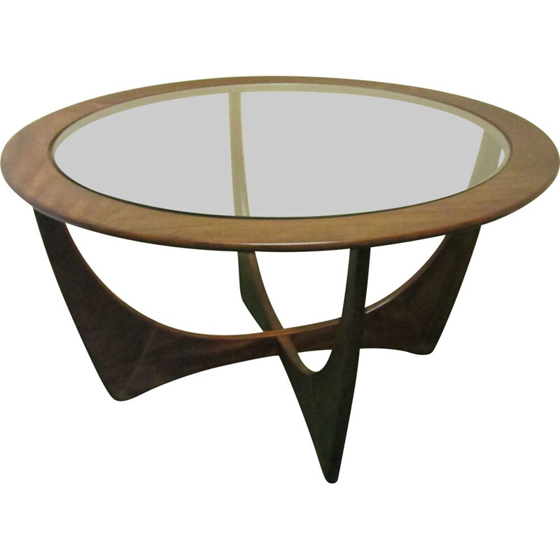 Round vintage teak coffee table with glass by G-Plan