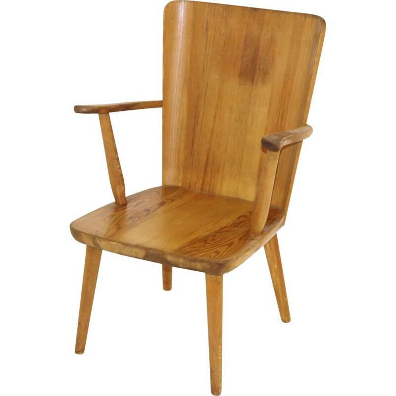 Vintage pine chair with arms by Göran Malmvall, Sweden 1950